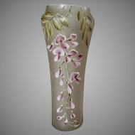 Antique French Mont Joye Art Glass Vase with Wisteria Flowers