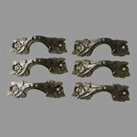 Set of 6 Art Deco Architectural Handles, Drawer Pulls with Flowers