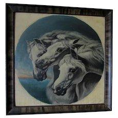 19thC Oil Painting, Pharoah's Chariot Horses,  John Herring