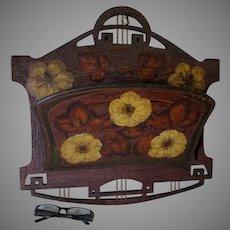Antique Art Nouveau Pyrography, Flemish Art Wall Pocket, Poppy Flowers