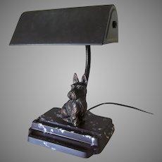 Circa 1920s Art Deco Scotty Dog Desk Lamp, Scottish Terrier