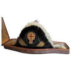 Old Masonic Knights Templar Bicorn Chapeau Hat with ID