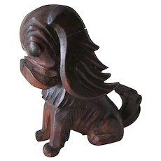 Vintage c1930s Hand Carved German, Black Forest Dog Inkwell, Pekingese