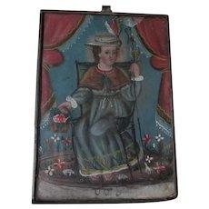 Antique Spanish, Mexican Santos Retablo Painting on Tin, Christian Icon
