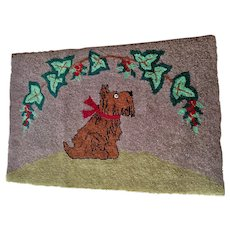 Circa 1920-1930s Folk Art Hooked Rug with Scotty Dog