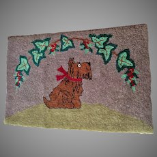 Circa 1920-1930s Folk Art Hooked Rug with Scotty Dog