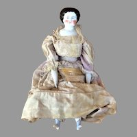 Antique Flat Top German China Head Fashion Doll, Hand Embroidered Dress