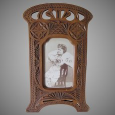 Antique French Frisian Hand Carved Wood Picture Frame