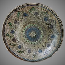 Old European Art Pottery Charger with Marbled Glaze