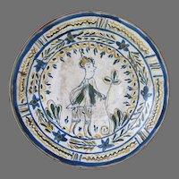 Old European Art Pottery Charger with Folk Art Gentleman