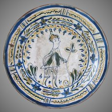 Old European Art Pottery Charger with Folk Art Gentleman