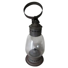 Antique Whale Oil Lantern, Oil Lamp with Double Wick Burner, Original Glass