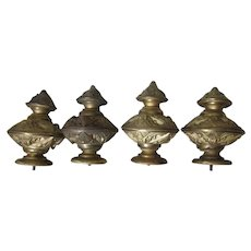 4 Antique c1870s Dore Brass Finials Gothic Victorian Architectural Element