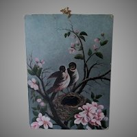 Petite Antique 19th Century Folk Art Oil Painting of a Bird's Nest