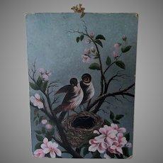 Petite Antique 19th Century Folk Art Oil Painting of a Bird's Nest