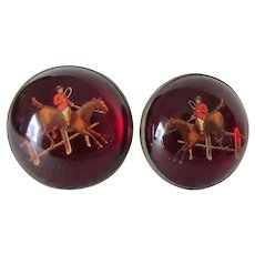 c1900 Intaglio Glass Curtain Tiebacks, Hooks with Horses, English Riders