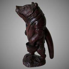 Antique Hand Carved German, Black Forest Bear Nutcracker, Folk Art