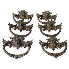 Antique Gargoyle, Northwind Bat Handles, Drawer Pulls, Architectural, Furniture