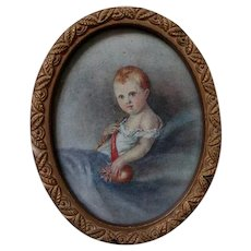 Miniature Watercolor Painting of the King of Rome, Napoleon Bonapartes Son