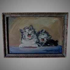 Charming Oil Painting of the Kittens Serenade, Signed