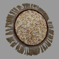 Lovely Antique Art Nouveau Needlepoint, Velvet Tablecloth