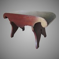 Antique Empire Footstool, Hand Crafted Wood, Elegant Scroll Form