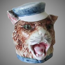 Whimsical Antique Majolica  Cat with Sailor Hat Tobacco Humidor
