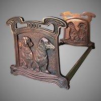 Antique Dachshund Dog Bookends, Desk Accessory