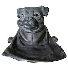 Antique Victorian, Pug Dog Smoking a Pipe Inkwell, Glass Eyes