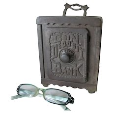 Antique c1903 Cast Iron Coin Deposit Bank with Lift Handle, Grey Iron Casting