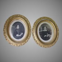 Antique Circa 1860s Gilded, Lemon Gold Picture Frames