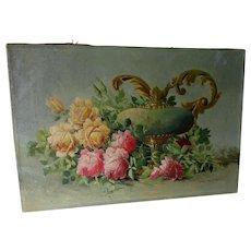 Lovely Antique Still Life Oil Painting of Roses, John Janning
