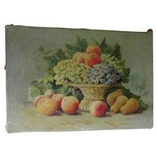 Lovely Antique Still Life Oil Painting of Fruit Basket, Signed John Janning