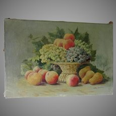 Lovely Antique Still Life Oil Painting of Fruit Basket, Signed John Janning
