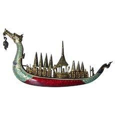 Fine Vintage Sterling Silver & Guilloche Enamel, Siam Dragon Boat Brooch