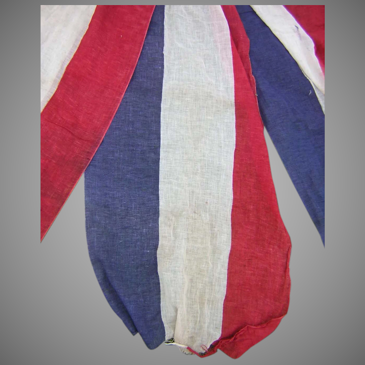 Antique Patriotic Bunting 14 1 2 Yards Red White Blue Home Decor
