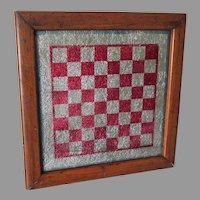 Antique Primitive Glass, Tinsel Checkerboard, Chess Game Board, Oak Frame