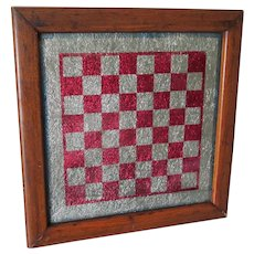 Antique Primitive Glass, Tinsel Checkerboard, Chess Game Board, Oak Frame