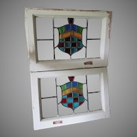Pair Antique Stained Glass Windows, Architectural, Heraldry, Shield Motif