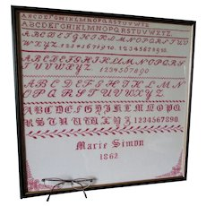 Antique Circa 1862 Alphabet Sampler by Marie Simon, Hand Embroidered