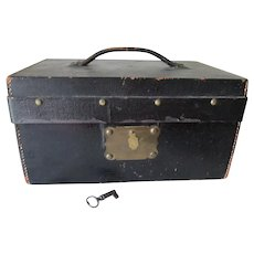 Primitive Antique Leather Document Box with Lock & Key
