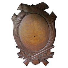 Antique Hand Carved Oak Taxidermy Mount with Hunting Motif