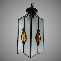 Pretty Antique Art Nouveau Stained Glass Hanging Lamp