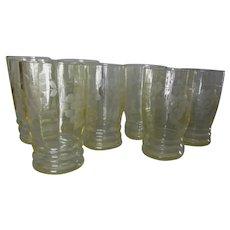 8 Elegant Depression Glasses, Cut Glass, Water Goblets, Juice Glasses