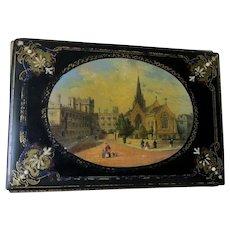Antique c1870s European Paper Mache Portfolio with Gothic Cathedrals