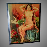 Rare Antique c1890s Advertising Tin Sign with Nude, Beer, Whiskey, Distillery