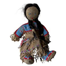 Old Native American Indian Leather Doll with Horse Hair, Beaded