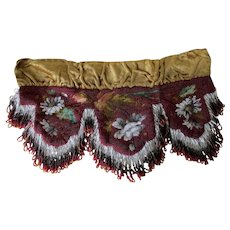 Antique French Beaded Tapestry Shelf Trim with Fringe, Petit Point Flowers