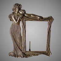 Antique Gilded Art Nouveau Picture Frame, Mirror with Lovely Lady