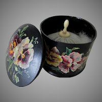 Antique Paper Mache Powder Box with Pansy Flowers, Swan Down Powder Puff